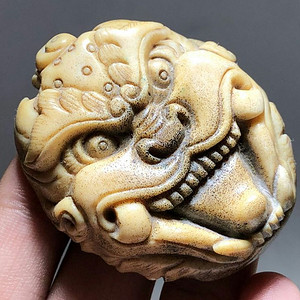 日本回流 晚清 珍贵 骨质 兽面 挂件 工艺精湛 大师级工艺 蝌蚪纹清