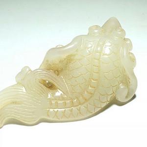 清 和田白玉 连年有余 挂件 白度不错 手工雕刻 北方工艺 *壳自然