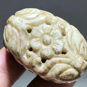 明 和田玉提油料 花开富贵 背云 手工雕刻 镂空透雕 工艺 精湛 包浆