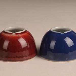 欧洲回流红釉和季蓝水罐