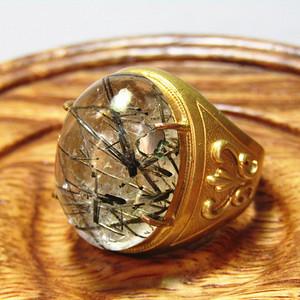 欧洲回流 天然水晶带发晶戒面 男款戒指