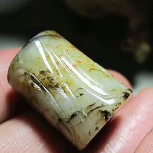 清早期 和田玉 老提油料 饕餮纹 桶珠 玉质细腻 包浆老道 手感熟润2