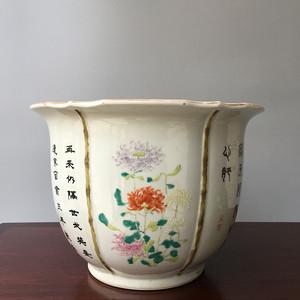 民国粉彩花卉诗文花盆