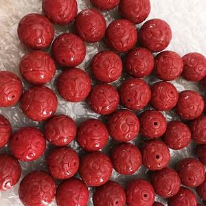 精品 20mm阿卡珊瑚雕花圆珠