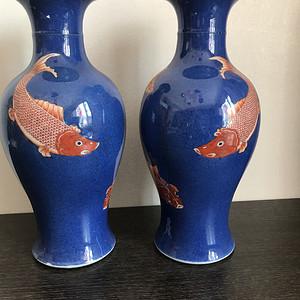 清末祭蓝矾红连年有余观音瓶