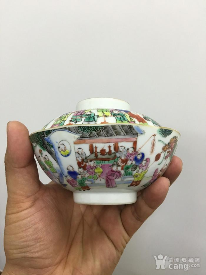 清中期 粉彩百子闹春盖碗图4