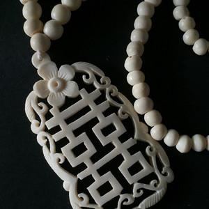 8004骨雕刻喜字造型毛衣链