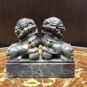 100113 寿山石双狮