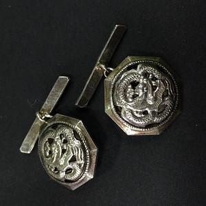 8078龙纹800银袖扣