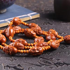 小泉老师作品 精品天然橄榄核雕十八罗汉长串