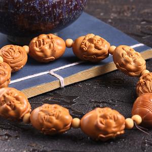 嘉善老师作品 精品天然橄榄核雕十八罗汉手串