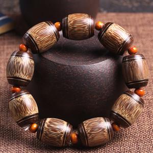 纯天然金丝竹镶嵌椰壳嵌银手串