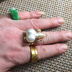 14A金嵌珍珠戒指