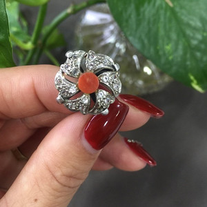 8101银嵌铁矿石珊瑚戒指