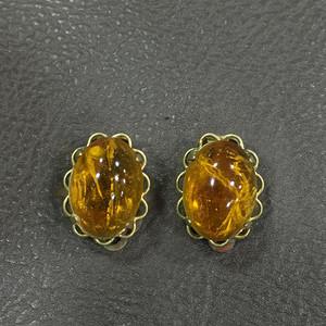 8128黄水晶耳夹