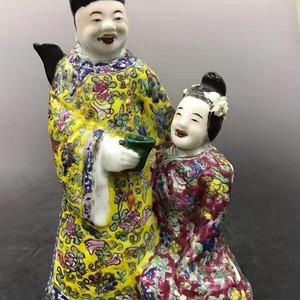 清晚期,贵妃醉酒图粉彩人物塑像,暗春宫酒壶