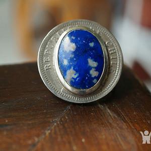 金牌 智利青金石戒指