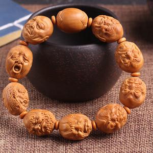 夏雨老师作品 精品天然橄榄核雕十八罗汉手串