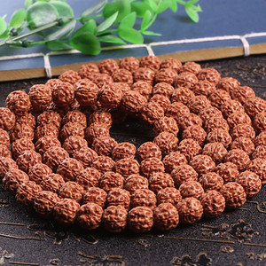 纯天然尼泊尔5瓣梅花桩蜂窝双龙纹金刚佛珠手串