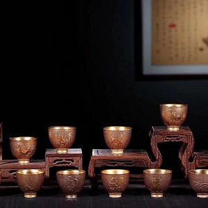 品名:台湾晓宇十二生肖金杯 内陶外金 。容量:80cc。