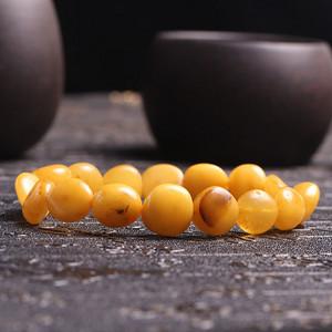 纯天然波罗的海老蜜蜡随形手串 支持复检