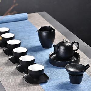 台湾禅风黑陶茶具套装黒色复古功夫茶具茶壶茶杯杯垫套组
