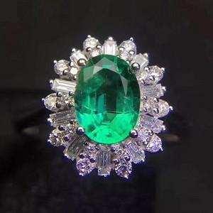 纯天然哥伦比亚祖母绿戒指