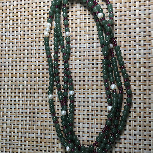油青冰种 配珍珠 软手链。