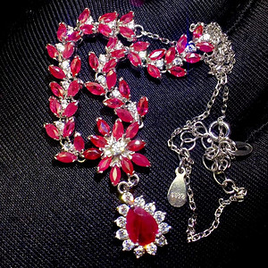 天然缅甸无烧红宝石项链假一赔万