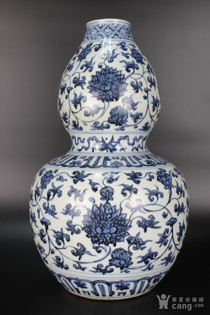 欧美回流青花缠枝莲纹葫芦瓶图4