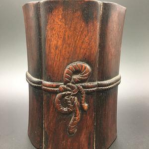 民国绳纹笔筒