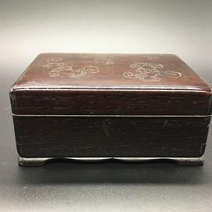 老红木镶嵌银丝文盒