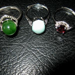 纯银嵌戒指3个