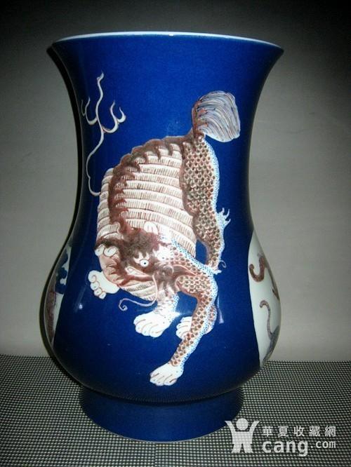 欧洲回流祭蓝开光釉里红尊瓶图2