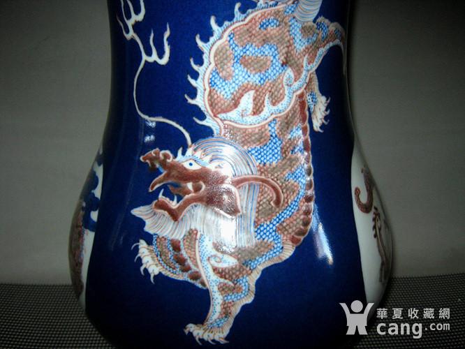 欧洲回流祭蓝开光釉里红尊瓶图6