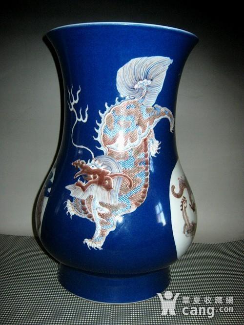 欧洲回流祭蓝开光釉里红尊瓶图4