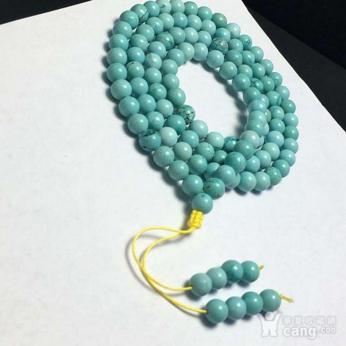 湖北十堰*古高瓷白蓝微铁线绿松石圆珠108颗多圈手链图4
