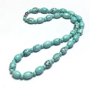 湖北十堰顶级高瓷网花绿松石小米桶珠项链