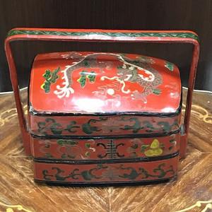 100125 民国 大漆龙纹食盒