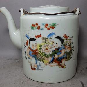 文革时期粉彩瓶生五福绘画提梁壶