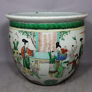 清代五彩三 教子人物绘画卷缸