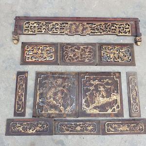 清代木鎏金人物花卉雕刻木雕一套