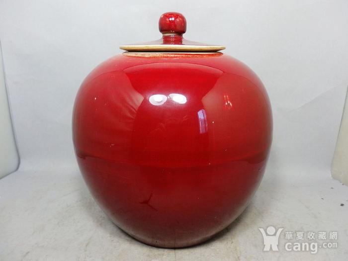 清代红釉盖罐图1