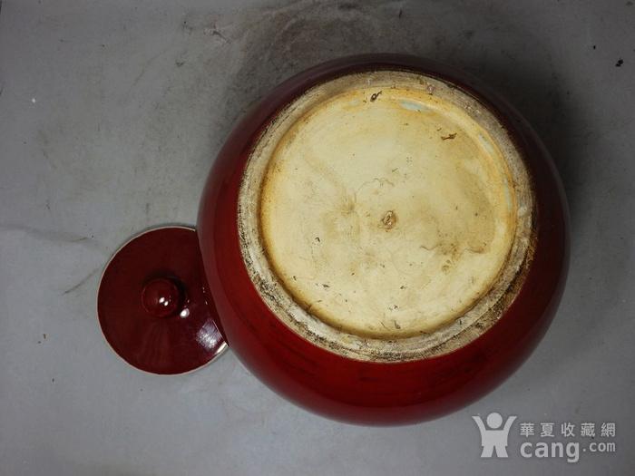 清代红釉盖罐图5