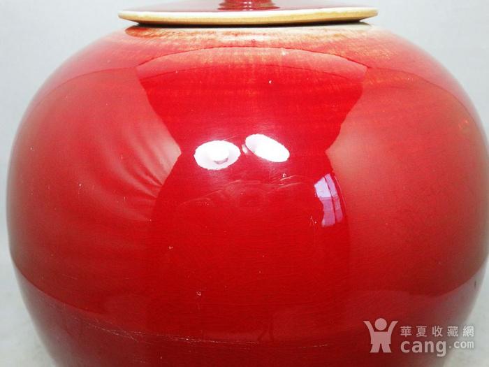 清代红釉盖罐图3