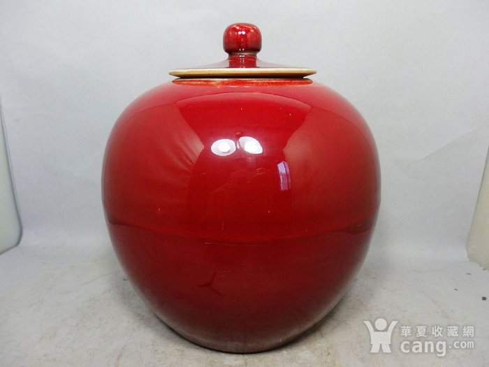 清代红釉盖罐图2