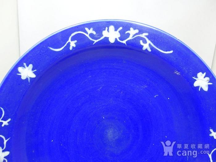 清代大号霁蓝堆白四季花卉折腰盘图2