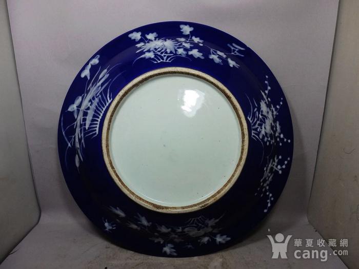 清代大号霁蓝堆白四季花卉折腰盘图4