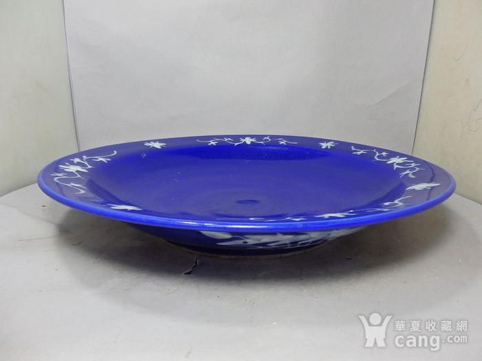 清代大号霁蓝堆白四季花卉折腰盘图6