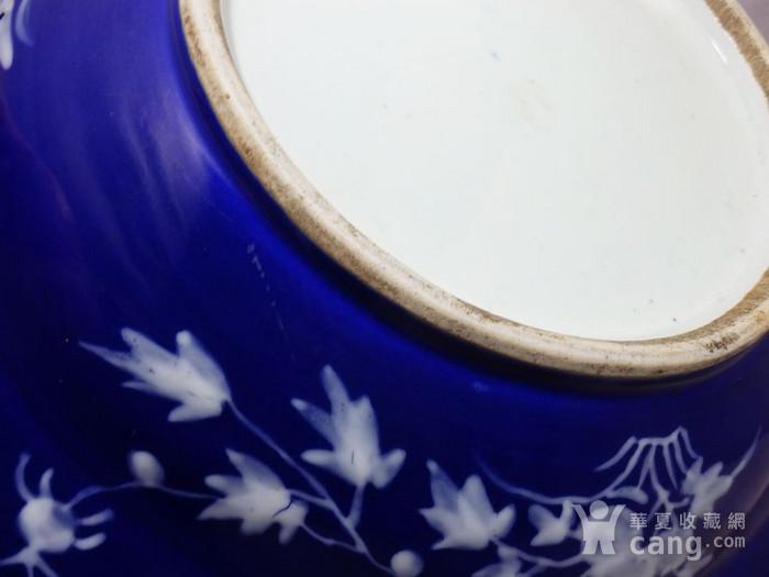清代大号霁蓝堆白四季花卉折腰盘图5